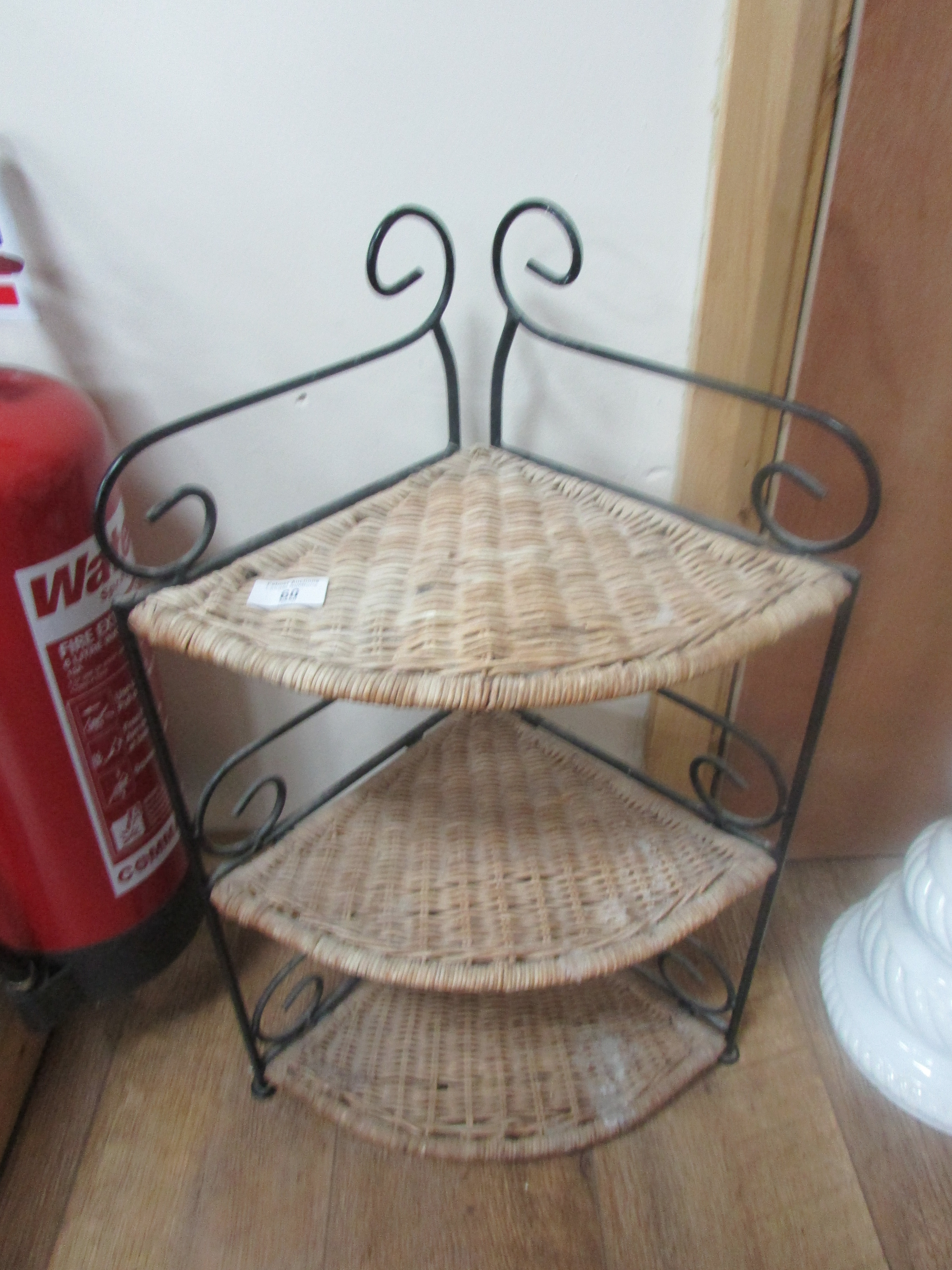 Lot 60 - Metal and wicker wot not
