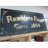 Lot 32 - Large 'Ramblers Rest' pub sign approx 6' x 3'