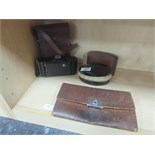 Lot 47 - Brush set in leather case / old camera in leather case and leather wallet