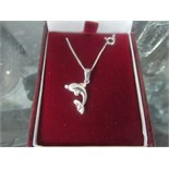 Lot 27 - 925 silver dolphin pendant and chain