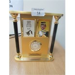 Lot 14 - Gilt / brass presentation clock celebrating 65th birthday Sultan of Brunei