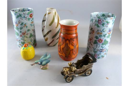 Poole Pottery Vase Bretby China Vintage Car Pair Of Tall Vases - Cool cars bretby