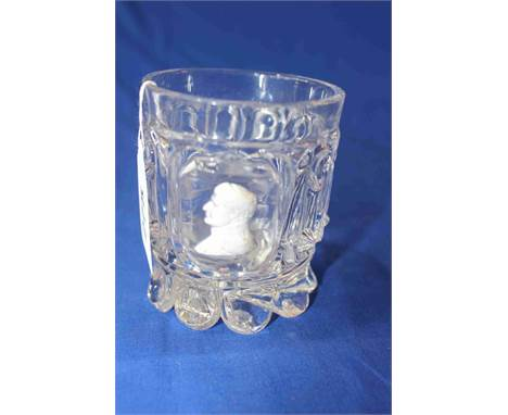 Baccarat crystal beaker with sulphide cameo of Napoleon.