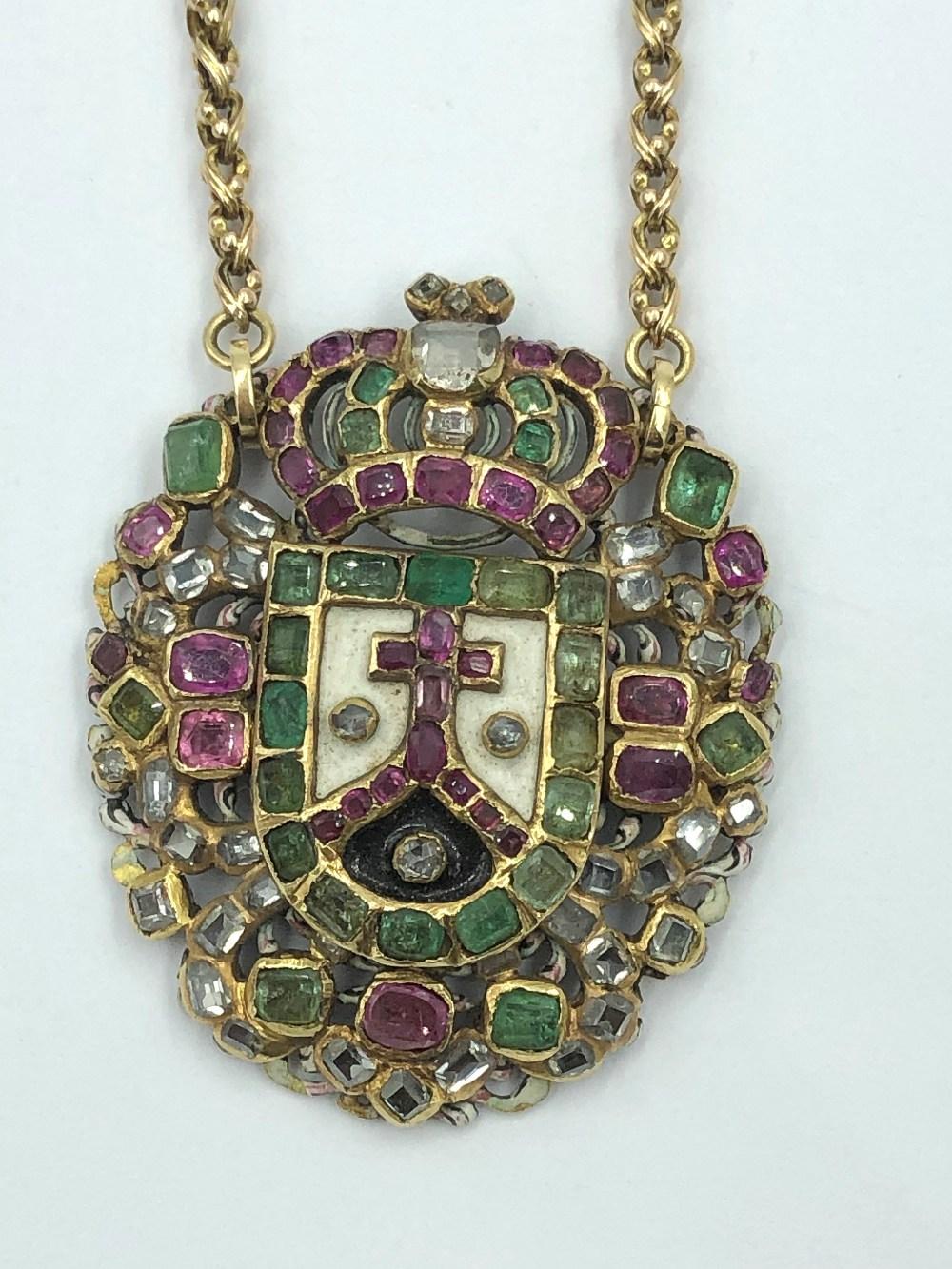 Lot 28 - NO ONLINE BIDDING LOTS 1-30. C17th Iberian gold gem set (ruby,diamond & emerald)