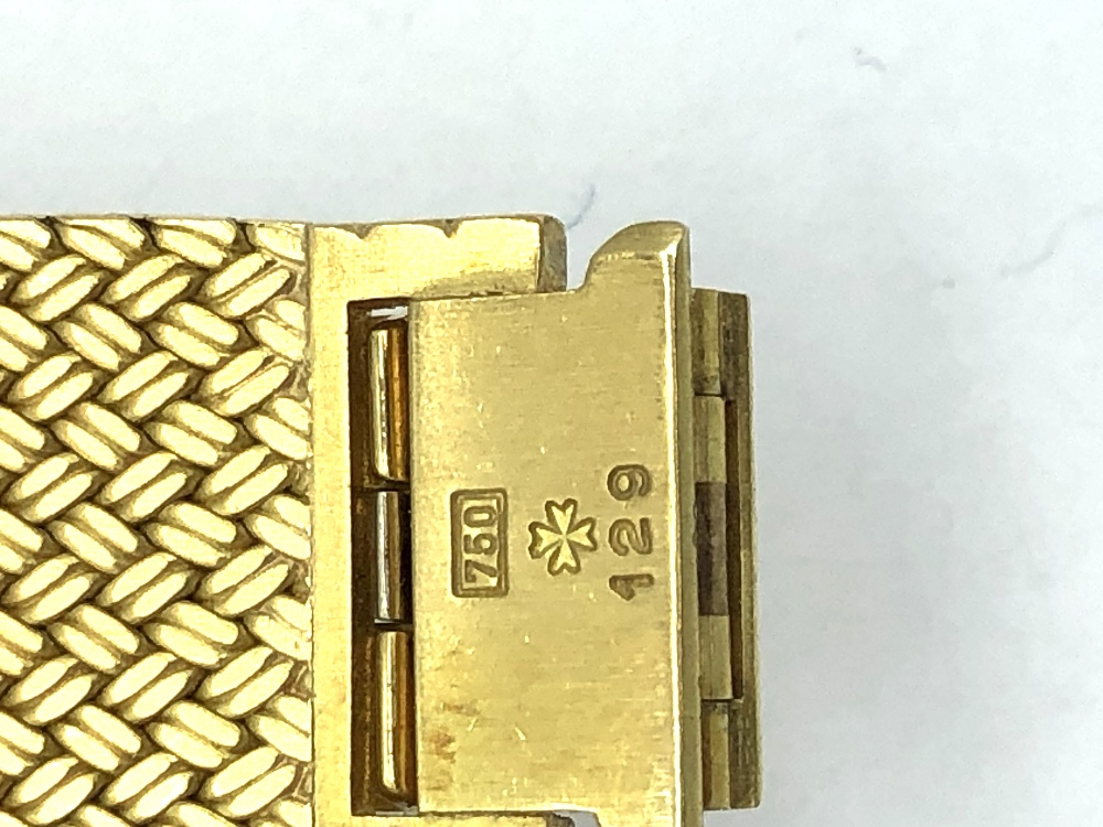 Lot 42 - A Vacheron Constantin gold wrist watch, Geneve, stamped 750, 129 to clasp inscribed verso with
