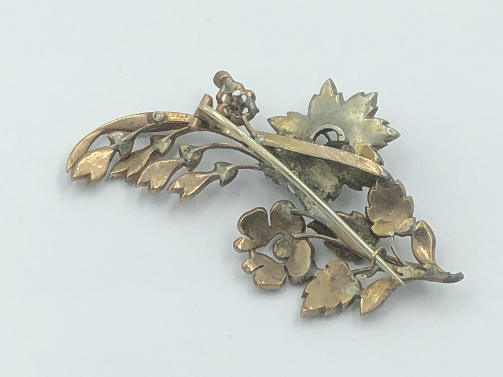 Lot 7 - NO ONLINE BIDDING LOTS 1-30.Gilt white metal diamond set flower spray brooch