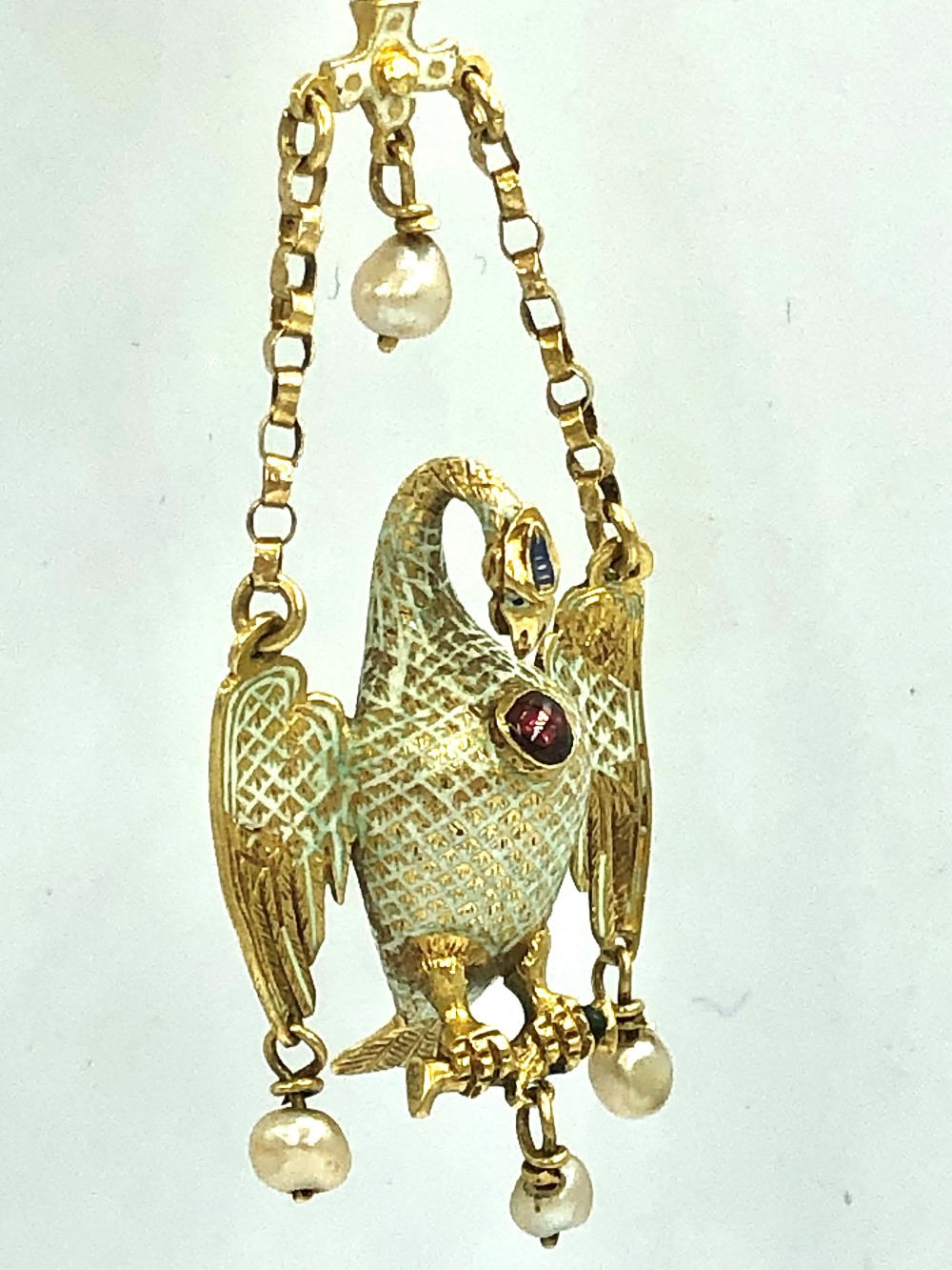 Lot 27 - NO ONLINE BIDDING LOTS 1-30. 16th C Pelican in her Piety pendant with green enamel decoration