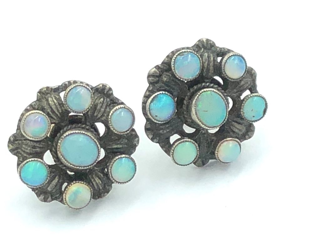 Lot 14 - NO ONLINE BIDDING LOTS 1-30. Pair of late C19th opal ear studs set in unmarked white & yellow metal