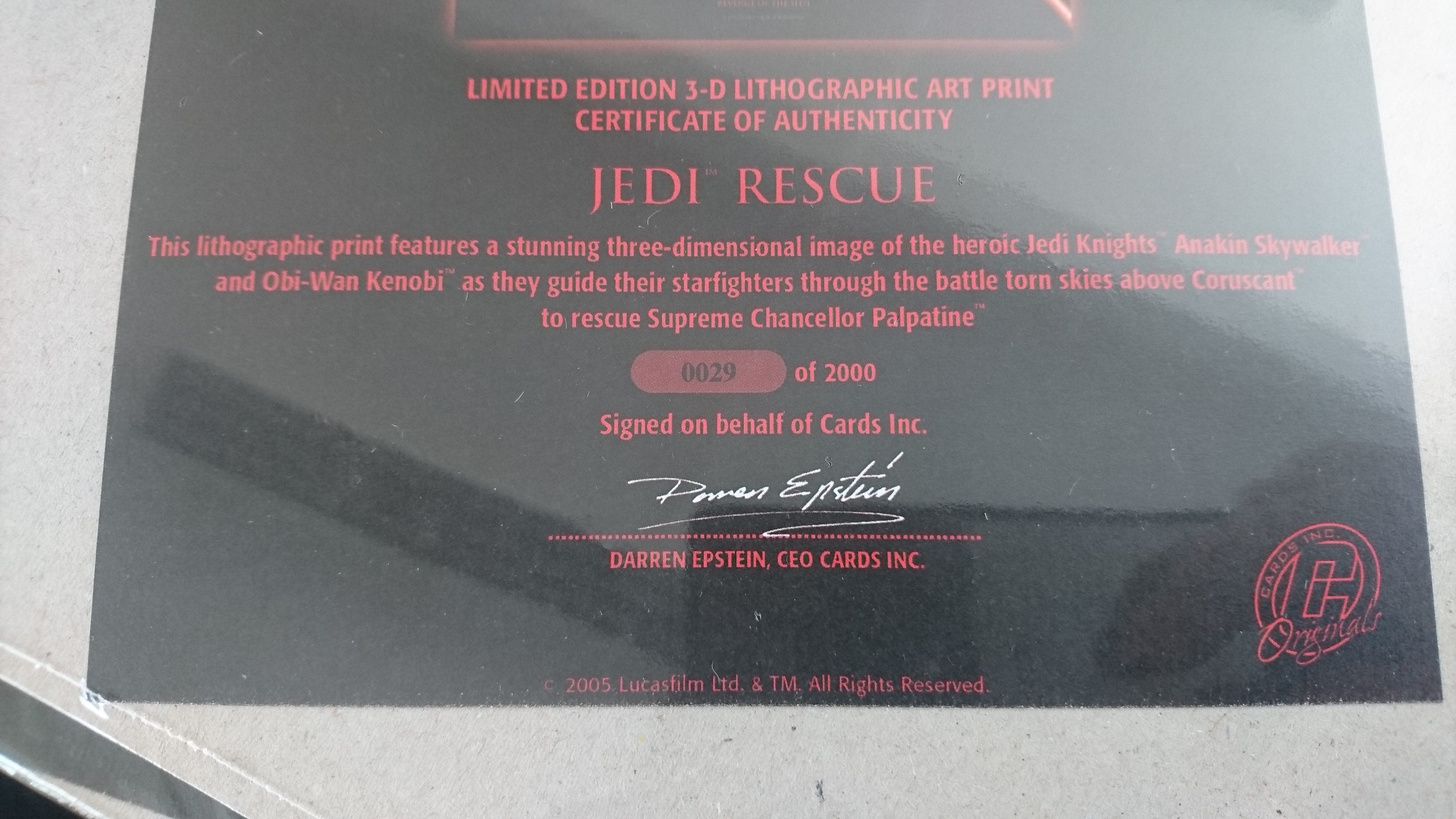 Limited edition star wars 3d lithographic print with for Limited edition print certificate of authenticity template