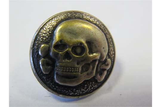 German WW2 SS Units Totenkopf cap badge / button, from a veterans
