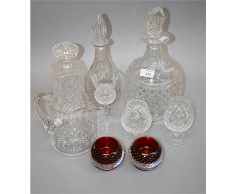 A Royal Brierly facet and hobnail cut crystal decanter and stopper, together with a good quantity of Edinburgh and other glas