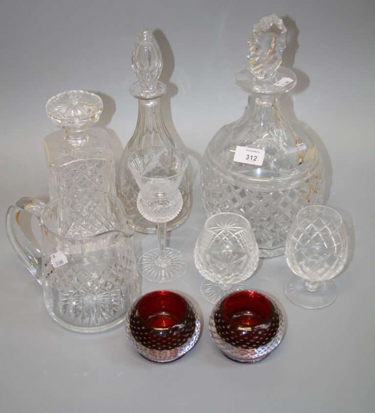 A Royal Brierly facet and hobnail cut crystal decanter and stopper, together with a good quantity of
