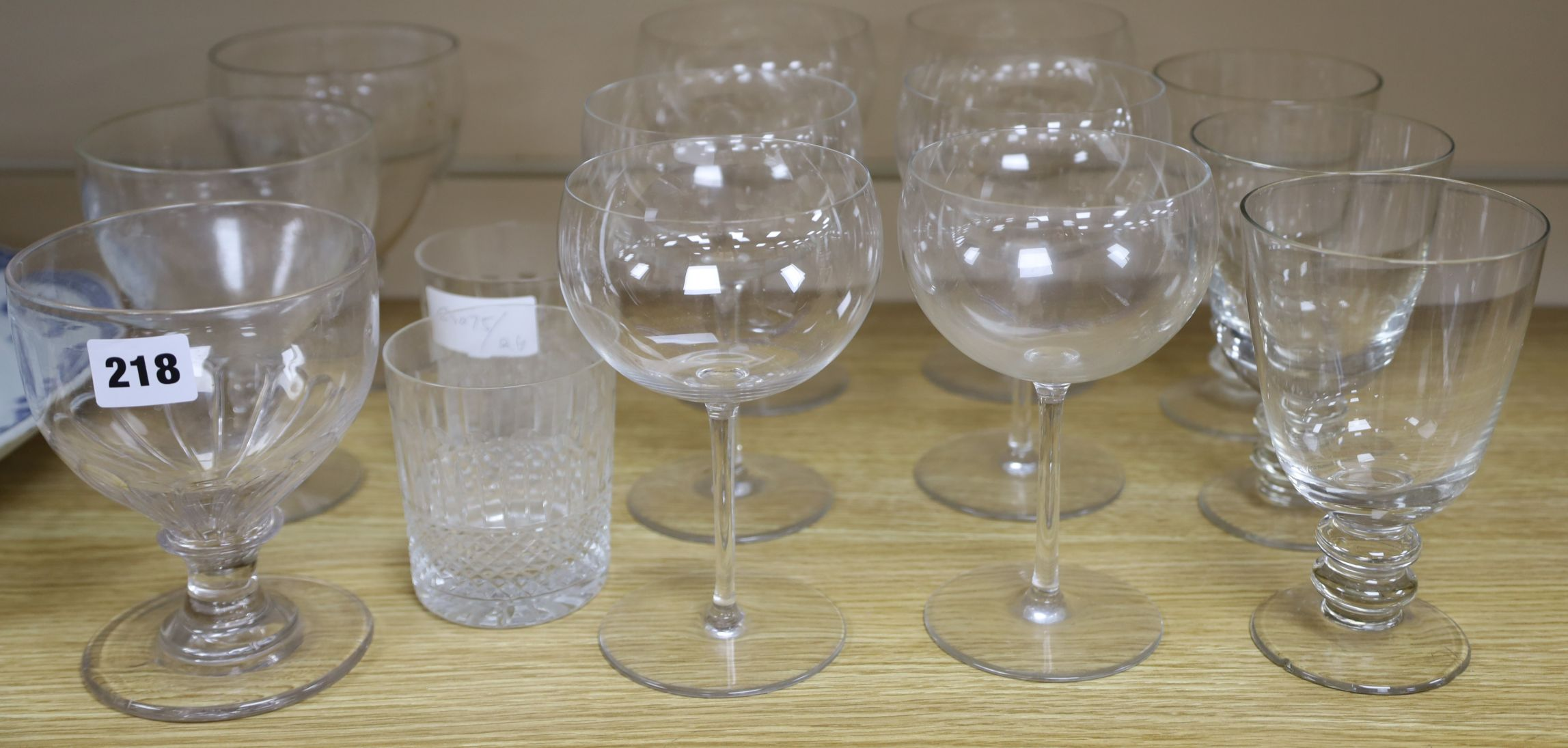 Lot 1218 - A set of three rummers, a similar pair and a single rummer, and 8 other glasses