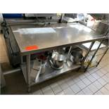 """Stainless Steel prep table with lower stainless steel shelf, 48""""x24"""""""