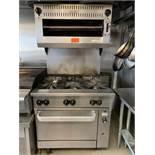 """Vulcan 6 burner stove, oven & salamander 36""""W, natural gas"""
