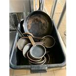 Black Bus trays with misc fry pans plus 2 cast iron frying pans