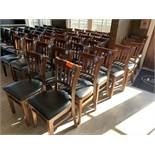 40 Dining chairs, wood frame, black vinyl seat