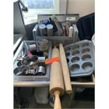 Rolling pins, muffin tins, baking supplies