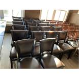 22 Dining chairs, wood frame, brown vinyl back & seat