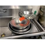 7 Stainless Steel bowls & sieve with 4 small frying pans