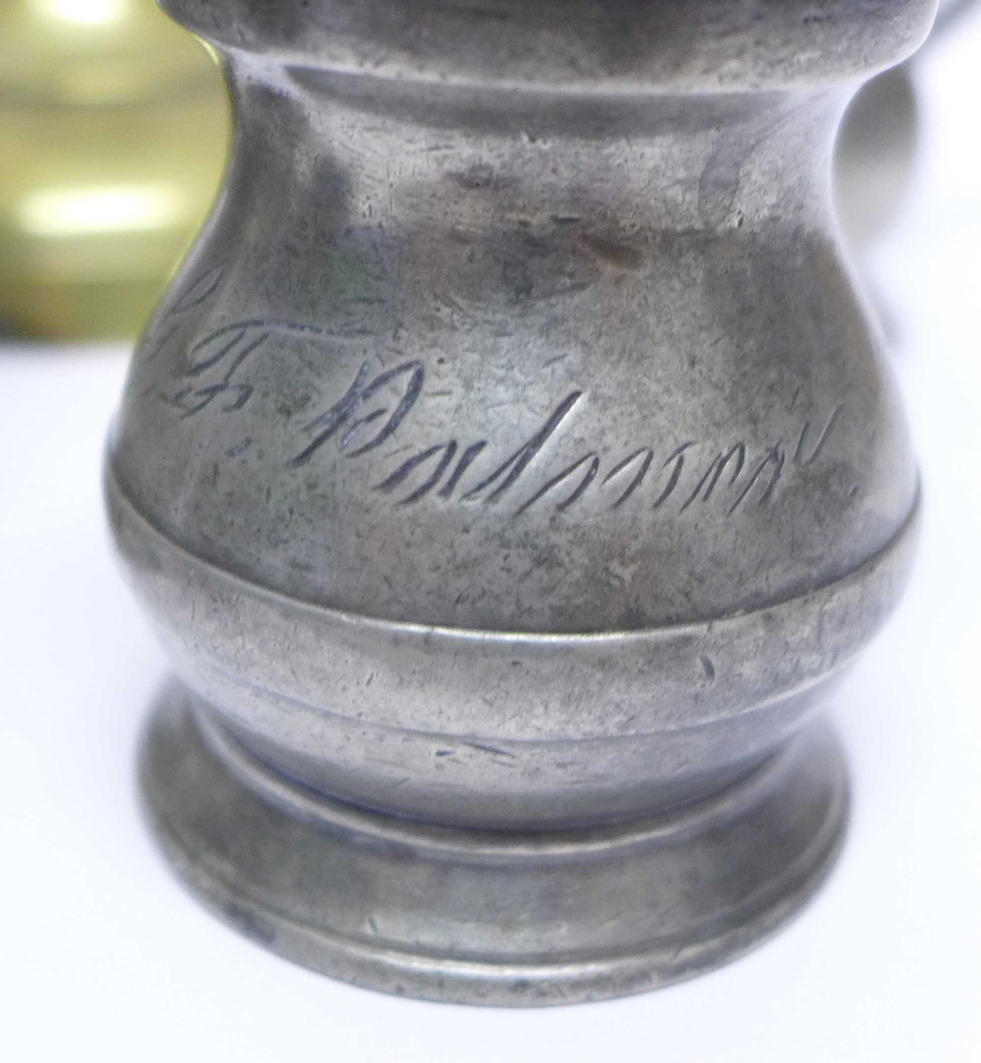 A pair of brass candlesticks, four measures and a 1 noggin measure in the form of a milk churn - Image 3 of 4