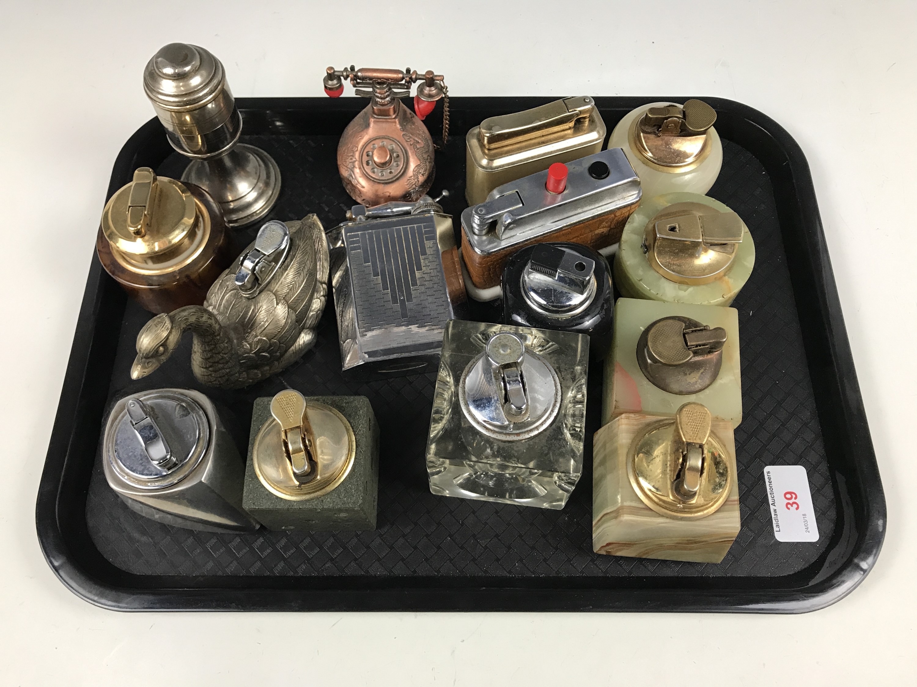 Lot 39 - A quantity of vintage novelty and other table lighters, including one modelled as a swan and other