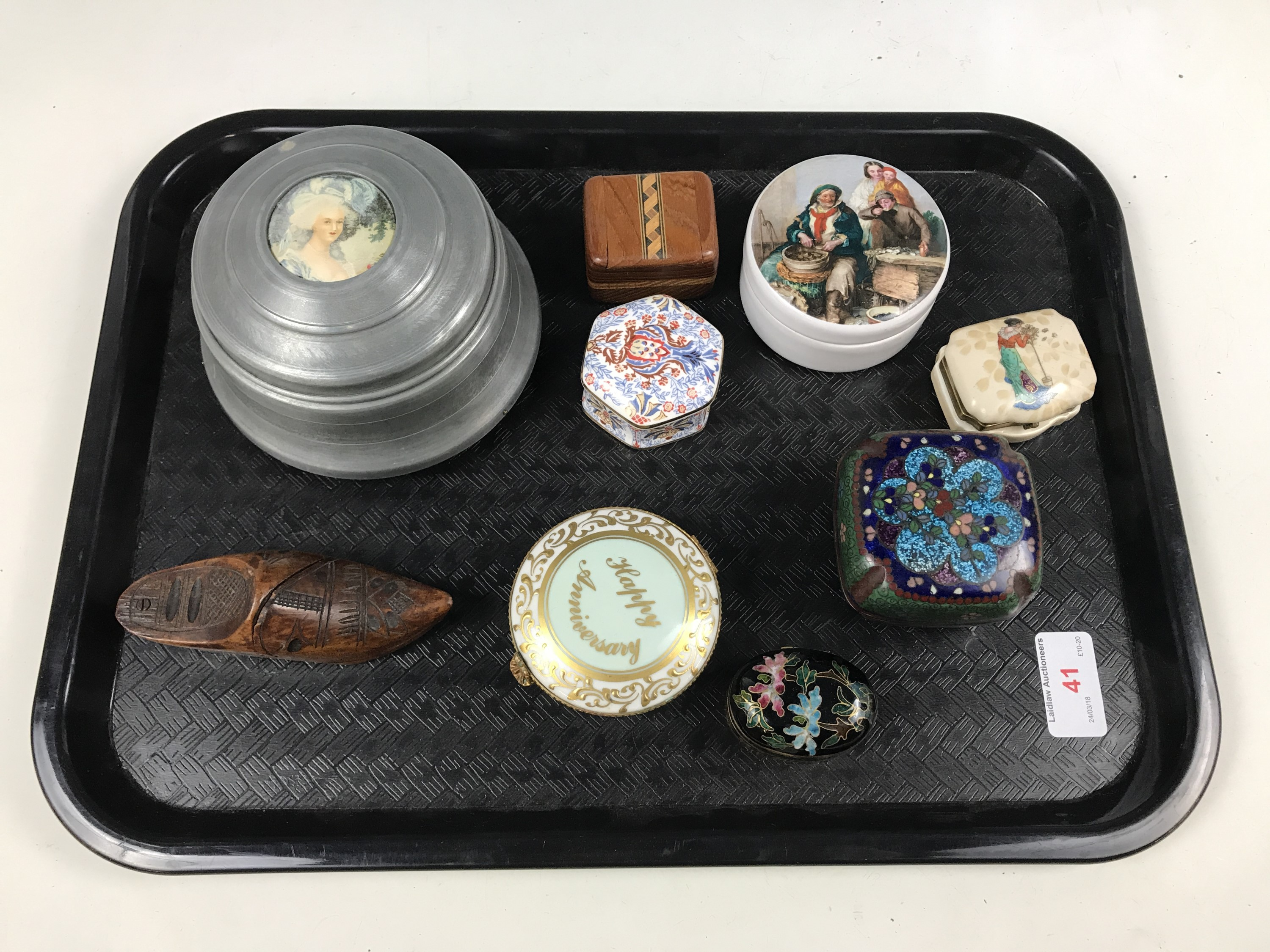 Lot 41 - A musical pewter box together with other trinket and pill boxes including cloisonné and Limoges