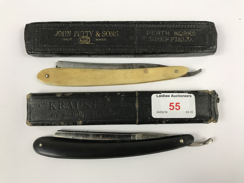 Lot 55 - Two antique cut-throat razors