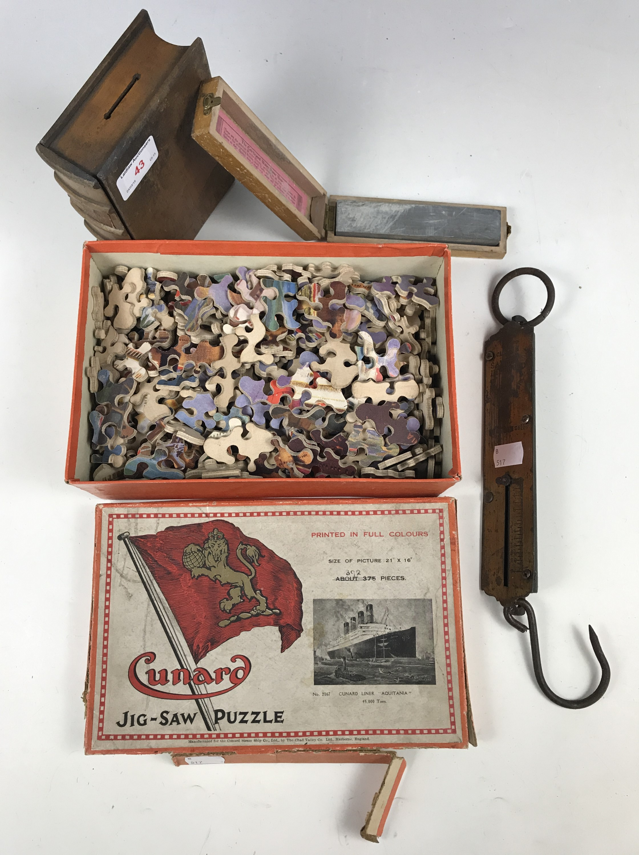 Lot 43 - Sundry collectors' items including a Cunard jigsaw puzzle, a Salter spring balance, a water razor