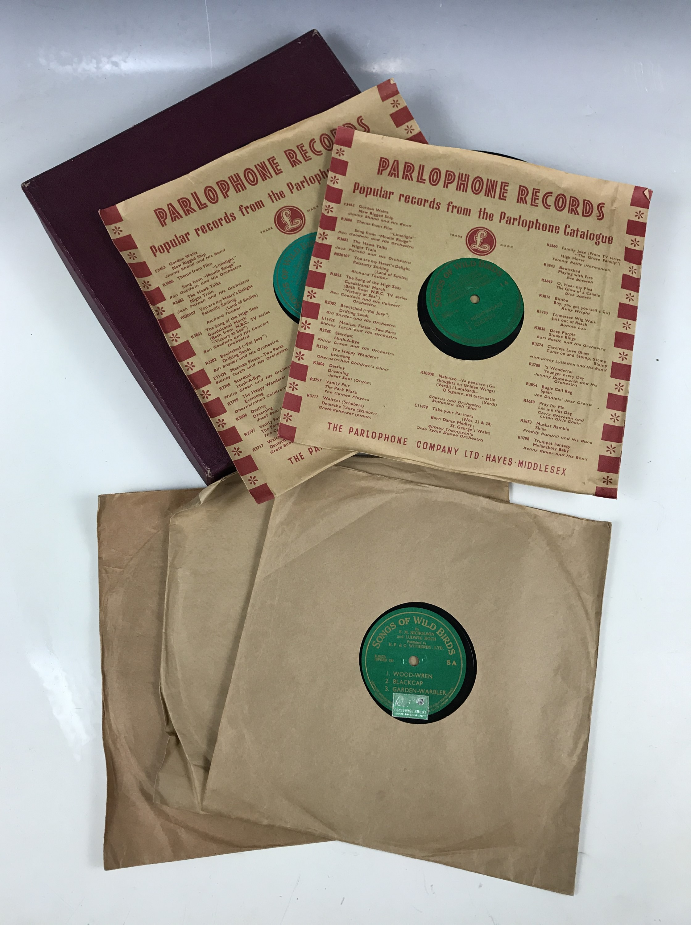 """Lot 1 - A cased set of """"Songs of Wild Birds"""" gramophone records"""