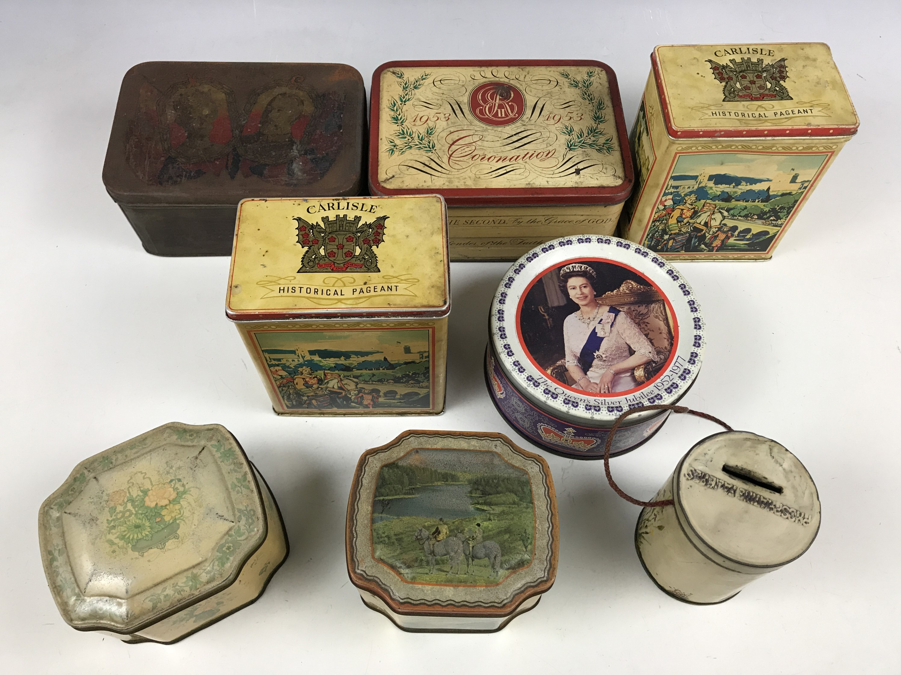 Lot 13 - Royal Commemorative and Carlisle historical pageant tinplate boxes