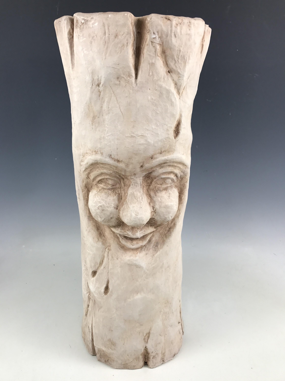 Lot 7C - A modern papier-mache sculpture modelled as a carved tree stump, 60 cm high