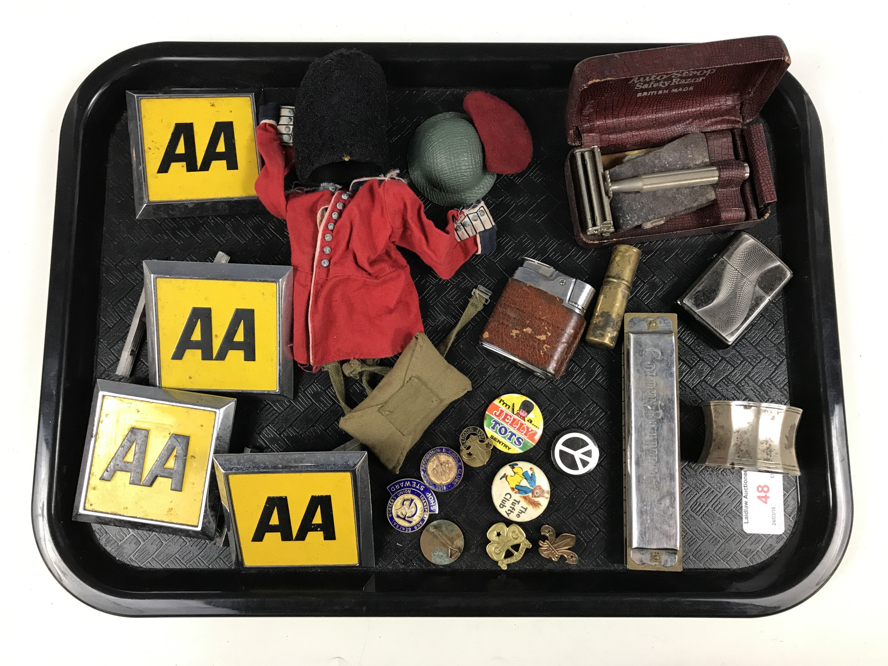 Lot 48 - Sundry collectors' items including four AA badges, enamelled badges, lighters, razors and a