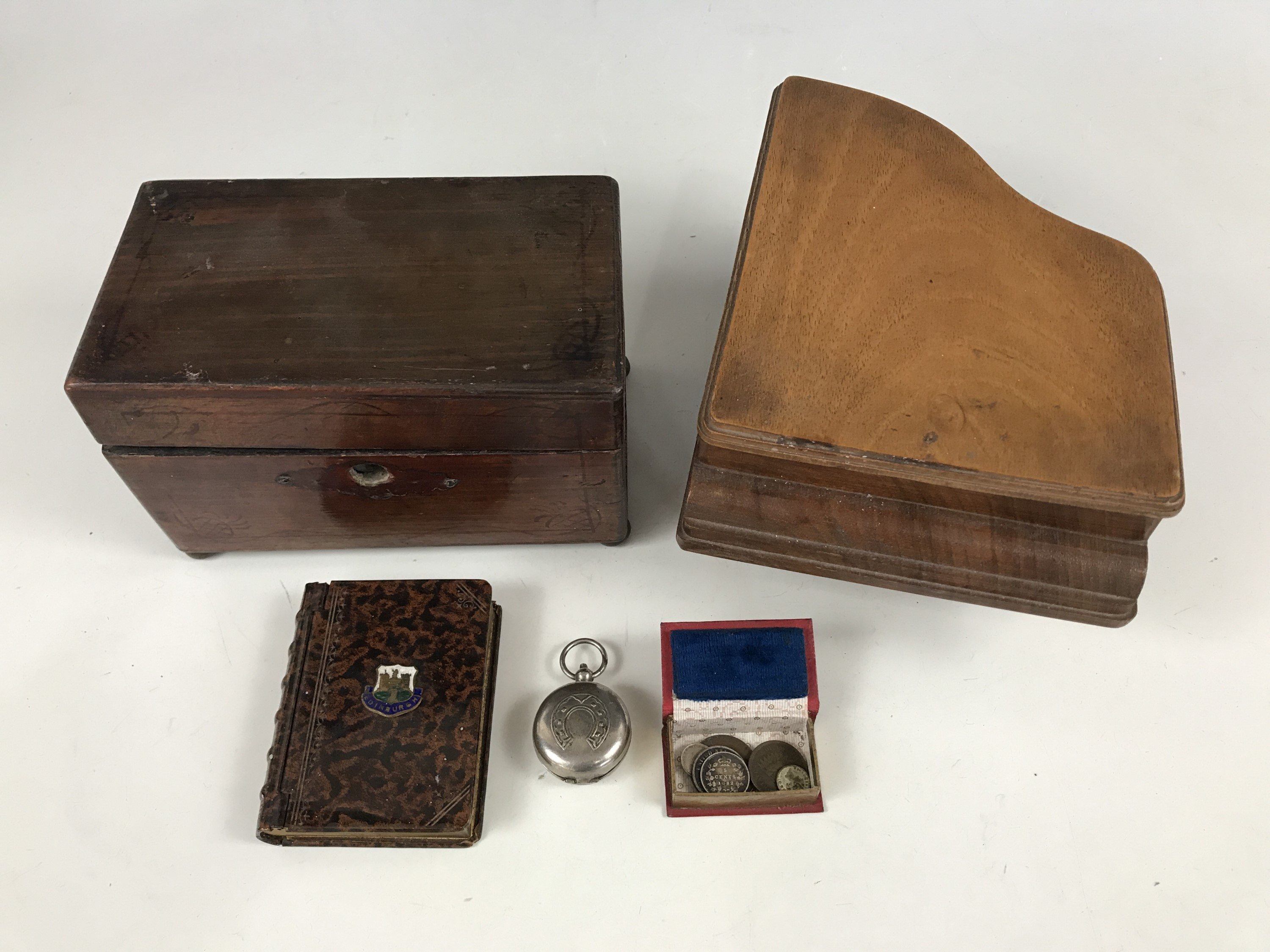 Lot 18A - Collectors' items including a novelty musical trinket box modelled as a grand piano, an Edinburgh