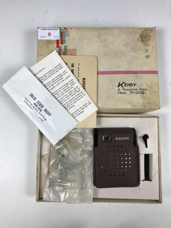 Lot 9 - A 1960s Kendy TR-612NP pocket transistor radio, in original packaging