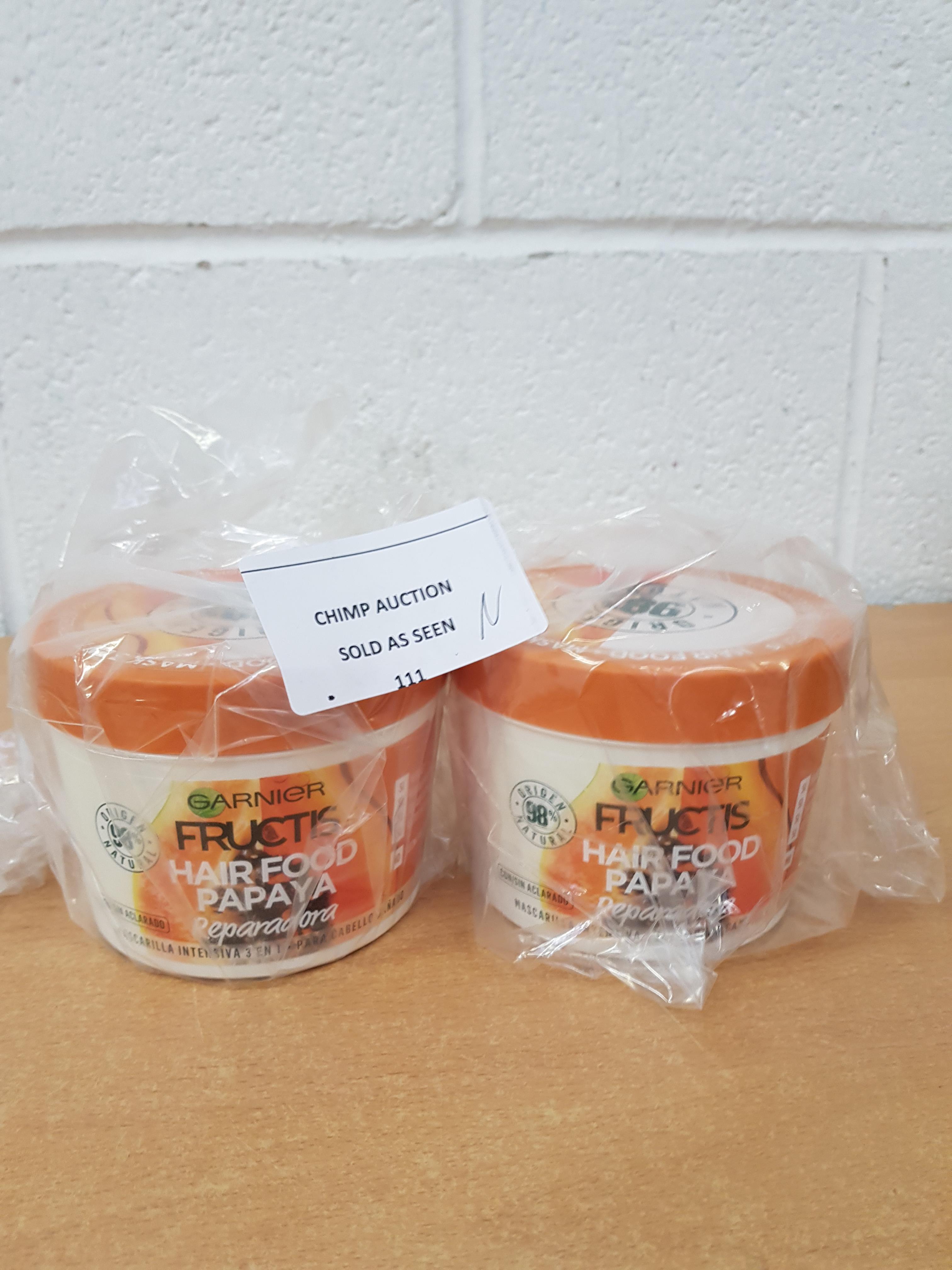 Lot 111 - 2x Brand new Garnier HAIR FOOD papaya repair mask 390 ml RRP £40