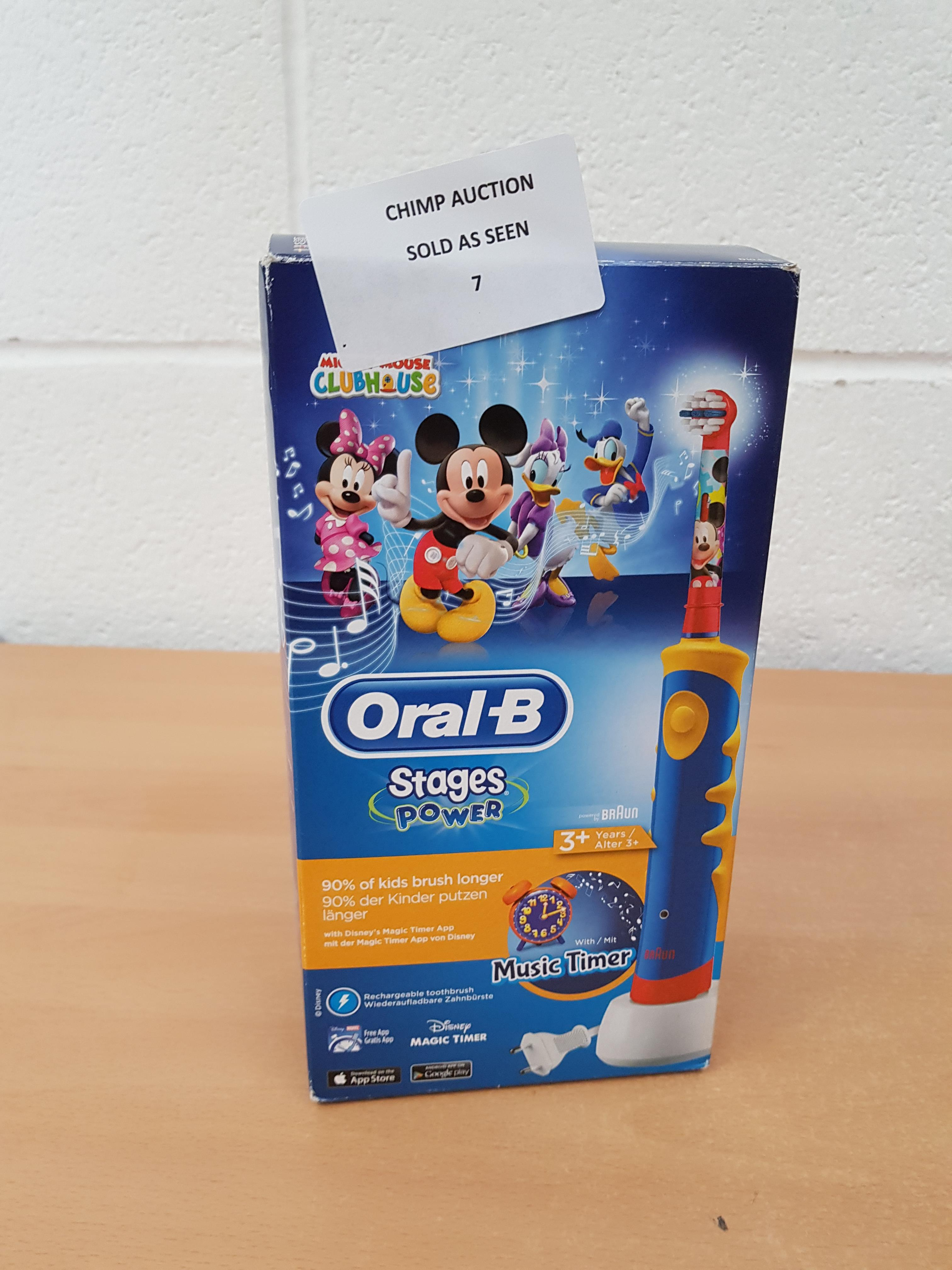 Lot 7 - Oral-B Stages Power Disney Mickey electric kids Toothbrush