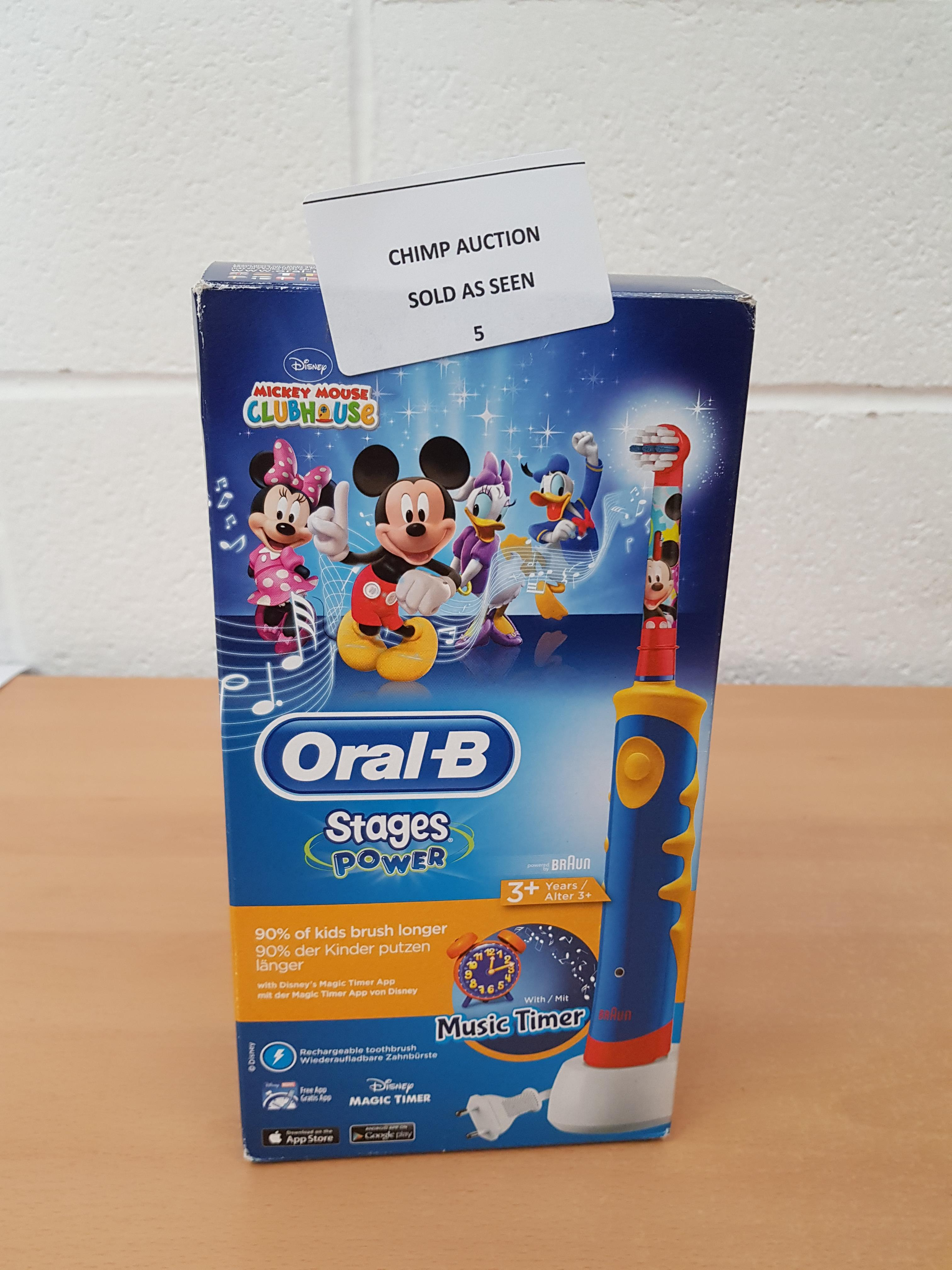 Lot 5 - Oral-B Stages Power Disney Mickey electric kids Toothbrush