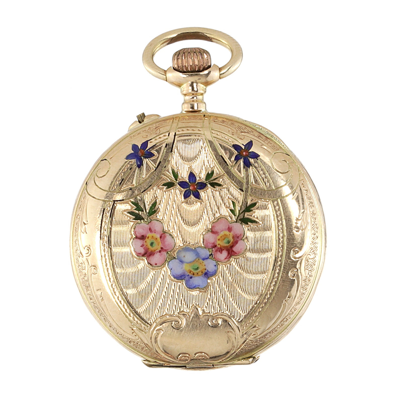 Los 418 - AN ENAMEL POCKET WATCH in high carat yellow gold, the circular case with engraved foliate