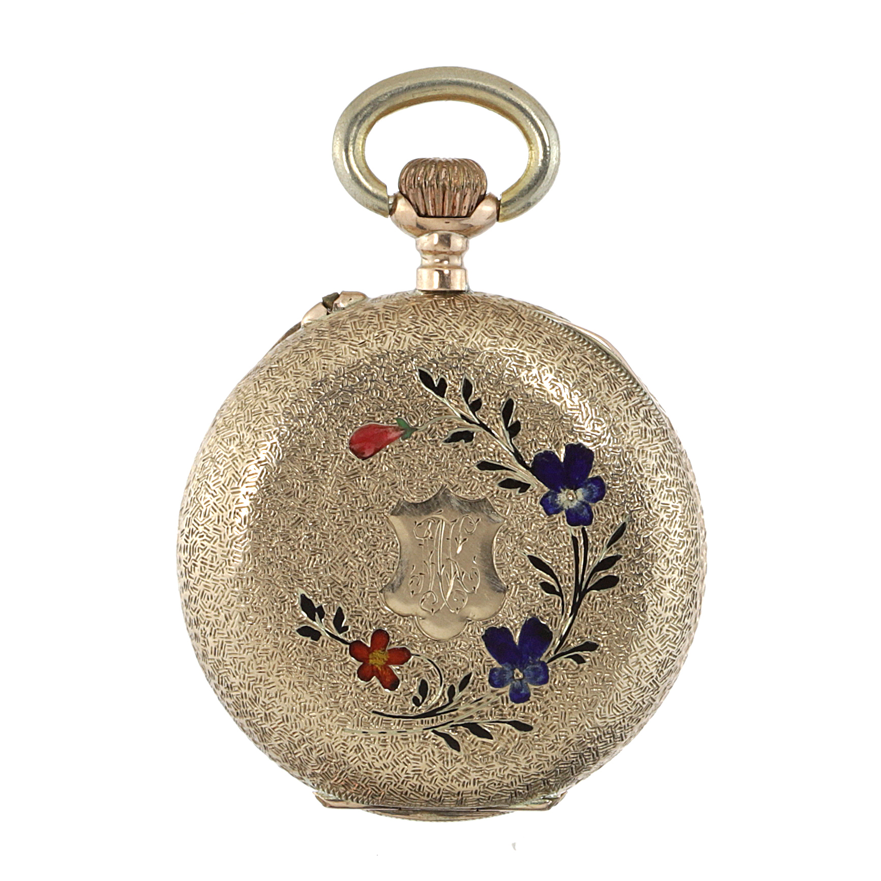 Los 416 - AN ENAMEL POCKET WATCH the circular case decorated with textured engraving and varicoloured enamel