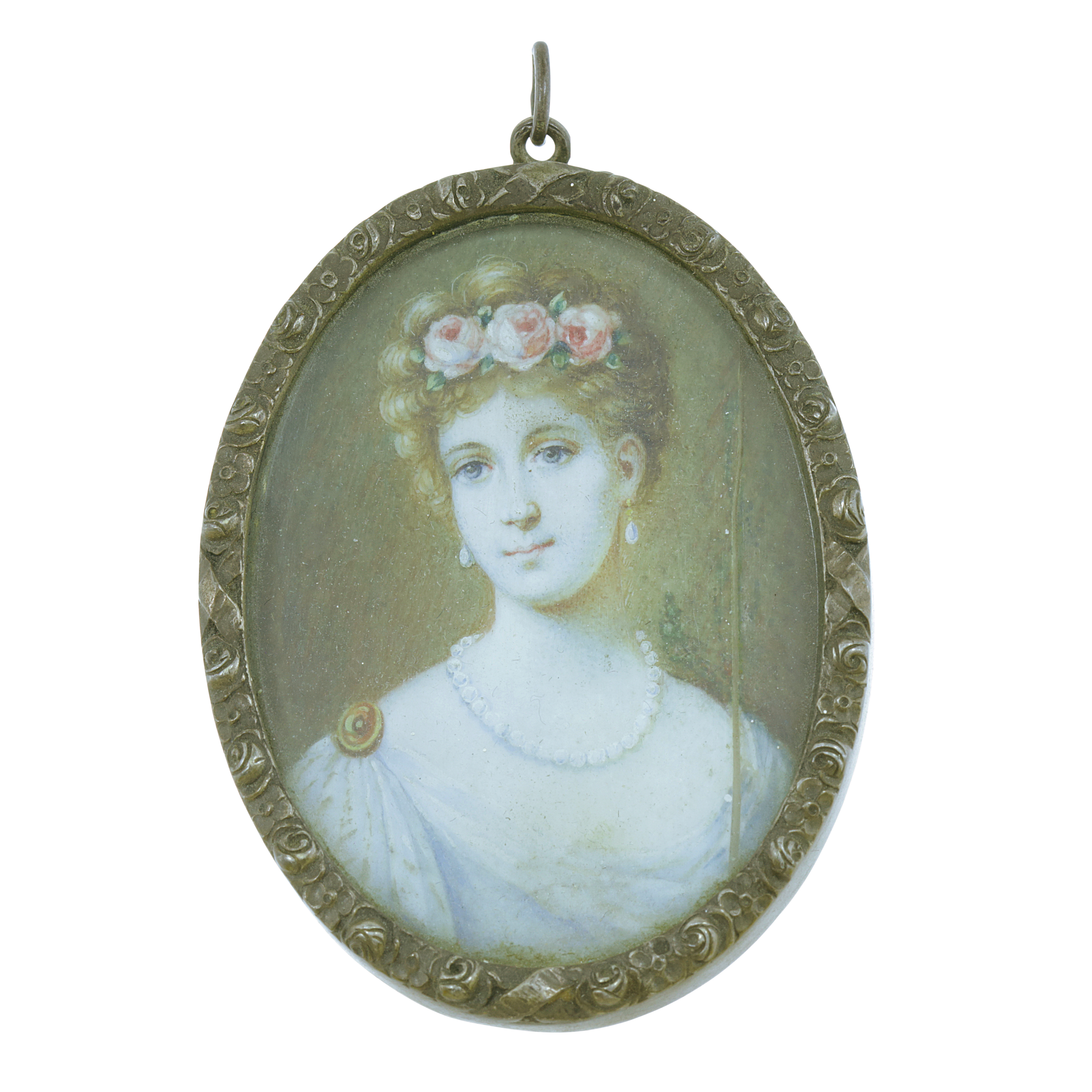 Los 455 - AN ANTIQUE PORTRAIT MINIATURE PENDANT of oval form, the painted ivory miniature depicting a young
