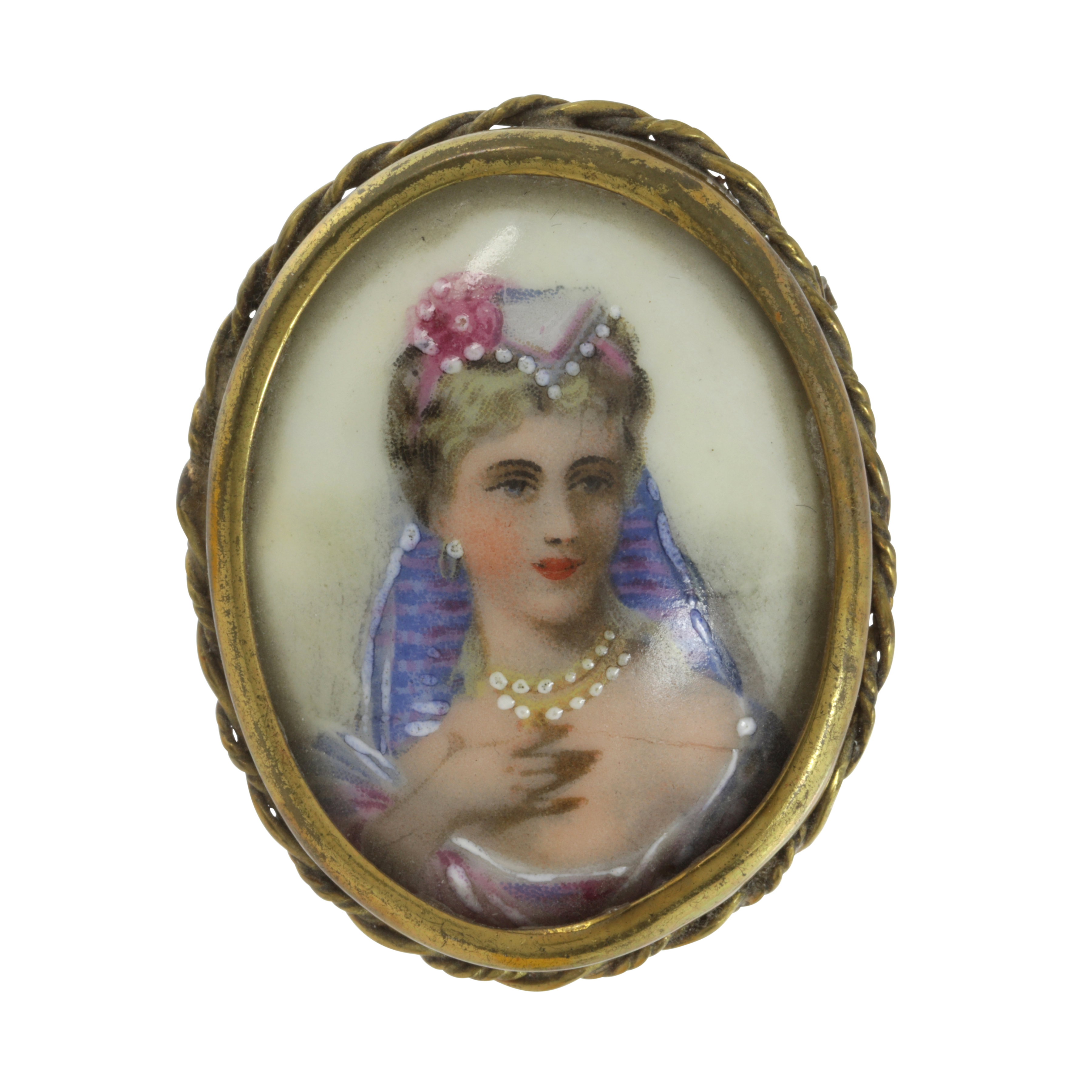 Los 458 - A LIMOGES PAINTED ENAMEL PORTRAIT MINIATURE BROOCH of oval form, painted to depict the bust of a