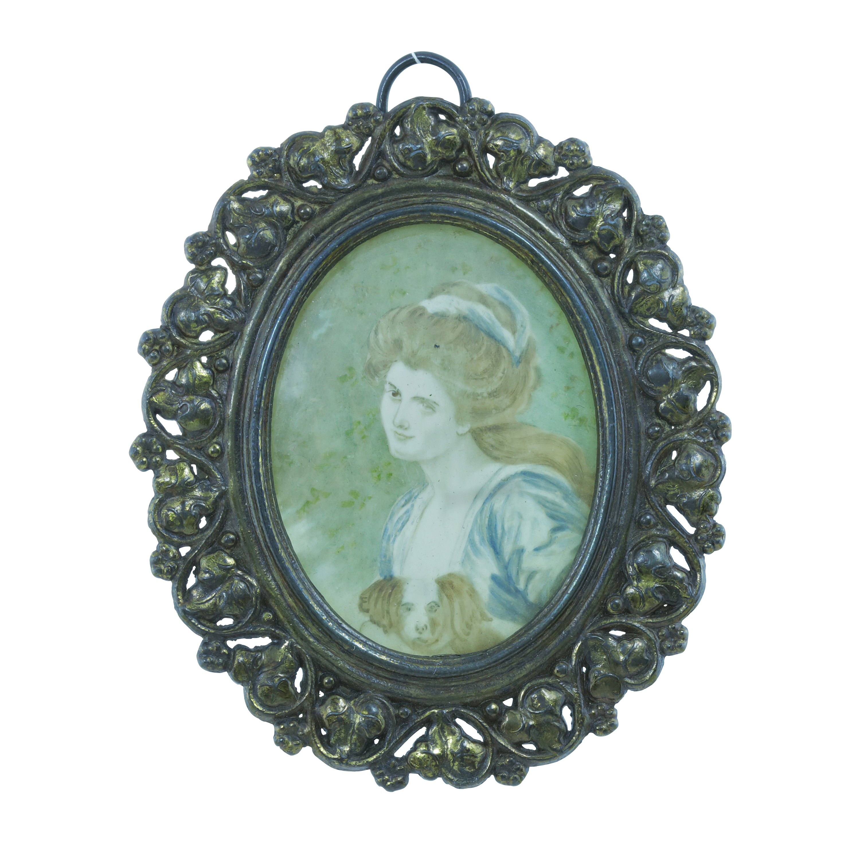 Los 454 - AN ANTIQUE PORTRAIT MINIATURE PENDANT of oval form, the painted miniature depicting a lady and