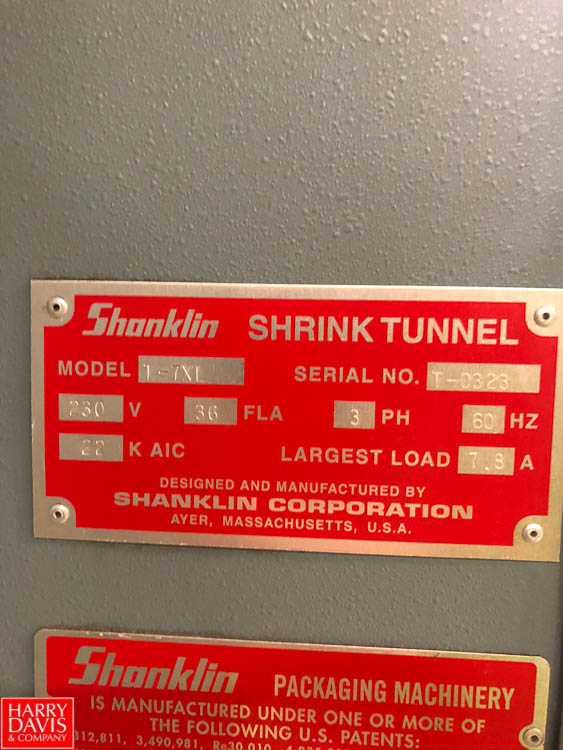 Shanklin Shrink Tunnel, Model T-7XL, S/N T-0323 Rigging Fee: $75 - Image 2 of 4