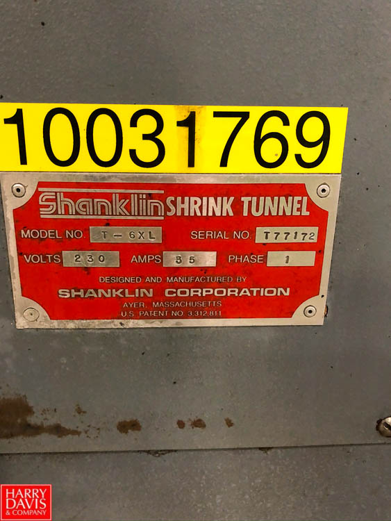 Shanklin Shrink Tunnel, 400 Series, Model T-6XL, S/N T77172 Rigging Fee: $75 - Image 2 of 3