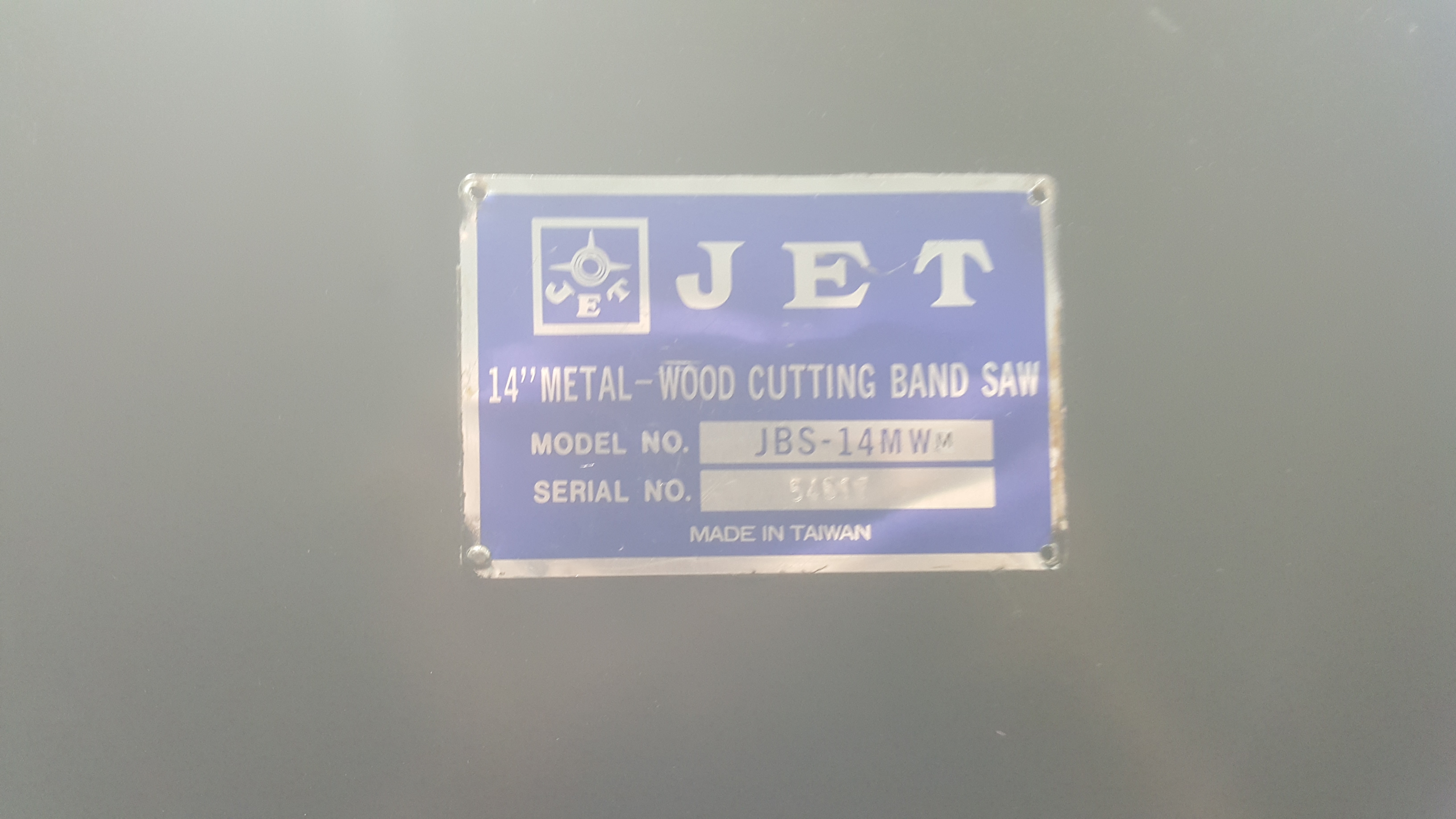 "Lot 122B - JET 14"" vertical woodcutting metal bandsaw, with cart"