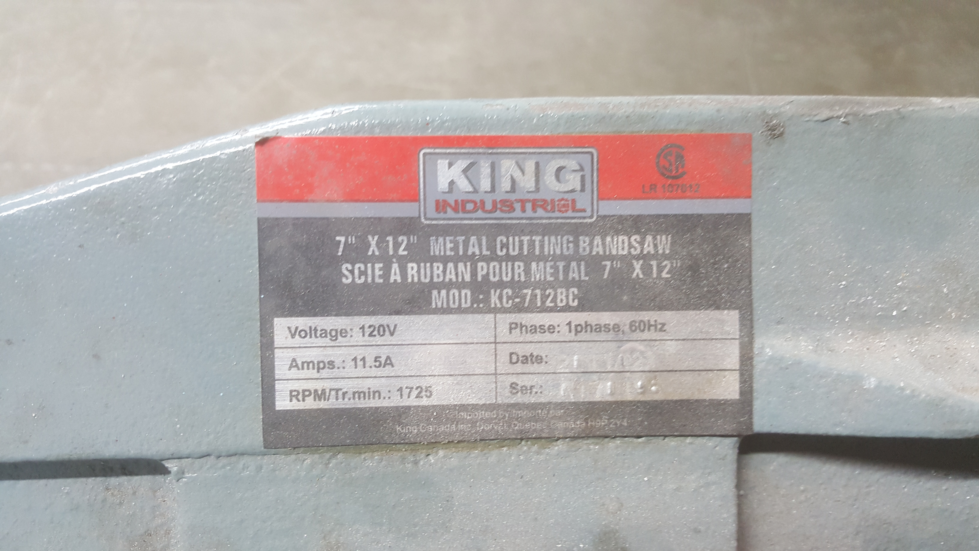 "Lot 122A - KING INDUSTRIAL 7""x12"" metal cutting bandsaw"