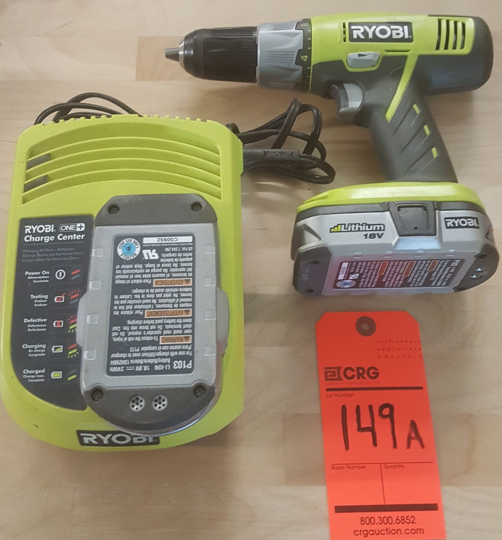 Lot 149A - RYOBI P203 driver with(2) lithium batteries and charger