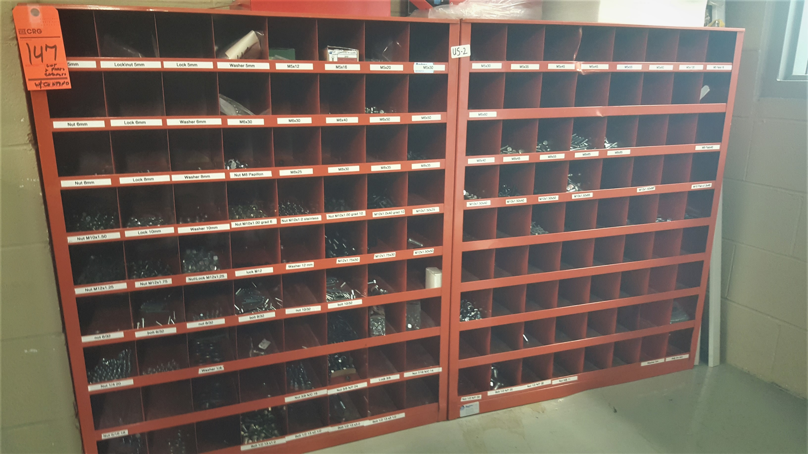 Lot 147 - (2) 72 Cubby part storage with contents incl screws, nails, bolts and washers