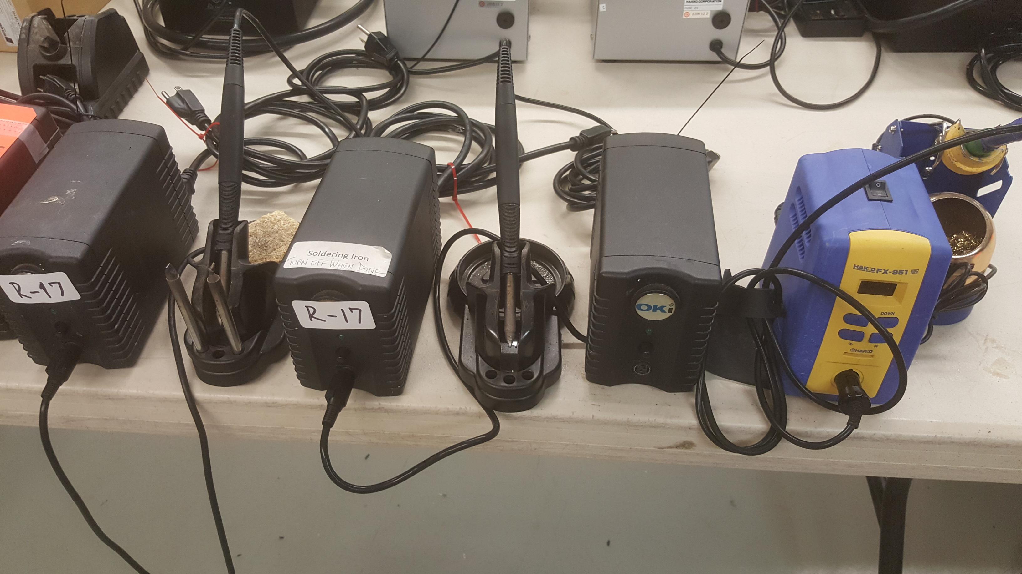 Lot 139 - (5) OKI PS-900 soldering systems, (1) HAKKO FX-951 soldering systems, (1) WELLER WE51 soldering